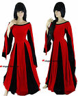 Medieval Queen Hearts Black Red Velvet Fancy Dress Gown Costume - 10 12 14 16 18