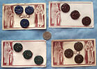 "3 vintage buttons on original card Art Deco 7/8"" Blue brown green burgundy"