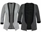 WOMEN LADIES THIN HORIZONTAL STRIPE BLACK BLAZER OPEN JACKET SHORT CARDIGAN 8-14