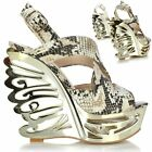 New Ladies Women Cut Out High Platform Heel Wedge Peep Toe Strappy Sandals Shoes
