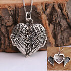 925 Sterling Silver Handcraft Angel Wings Heart Locket Necklace Chain w Gift Box