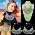 Mode Gypsy ethnique turque Déclaration Beachy Silver Coin Collier Fringe chaîne