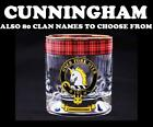 CUNNINGHAM CLAN CRESTED WHISKY GLASS TARTAN WHISKY GLASSES