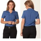 NEW WOMENS LADIES  SHORT SLEEVE SHIRT BUTTON WORK BUSINESS CASUAL BREATHABLE
