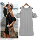 Vintage Summer Womens Off Shoulder Long Blouse Tops Shirt Mini Dress T-shirt