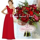 ASHA Scarlet Red Corsage Chiffon Maxi Prom Evening Bridesmaid Dress Sizes 6 - 18