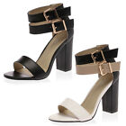 NEW LADIES STRAPPY DOUBLE BUCKLE WOMENS OPEN TOE BLOCK HIGH HEEL SHOES SIZE 3-8