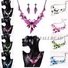 FASHION CHARM CRYSTAL JEWELRY BUTTERFLY PENDANT CHAIN STATEMENT  COLLAR NECKLACE