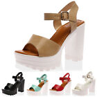 NEW LADIES CLEATED SOLE CUT OUT WOMENS CHUNKY BLOCK HEEL PLATFORM SHOES SIZE 3-8