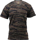 Mens Tiger Stripe Camouflage Tactical Military Short Sleeve T-Shirt