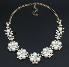 Fashion Women Charm Jewelry Pendant Chain Crystal Pearl Statement bib Necklace