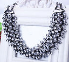 Women Charm Crystal Choker Chunky Pendant Statement Bib Necklace Jewelry Chain