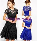 Womens Ladies Sexy Bandage Bodycon Floral Lace Evening Party Cocktail Mini Dress