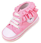 Infant Baby Girl Pink Ruffle Soft Sole Crib Shoes Size Newborn to 18 Months