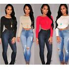 Chic Women Zip Back Crop Tops Stretch Bodycon Tights Shirt Tee Tank Blouses JJ