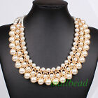 Fashion Popular Elegant Pendant Chain Choker Chunky Statement bib Necklace Pearl