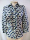 ETCETERA SILK BLUE WHITE RUFFLED PRINT BLOUSE SHIRT TOP sz 2 6 8 10 NEW $155