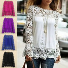 Lady Sheer Sleeve Embroidery Lace Crochet Tee Chiffon Shirt Blouse Free Shipping