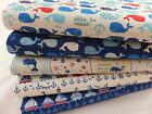 CT Nautical Japanese Linen Cotton Fabric Sailing Boats Whales Seaside Sea