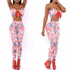 Women's Sexy Club Party Wear Flag Bandage Two-Piece Set Jumpsuits Cocktail Dress