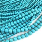 "Blue Magnesite Turquoise Round Beads 15"" , 4 6 8 10 mm , pick your size"