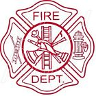 FIRE DEPT SHIELD VINYL GRAPHIC DECAL/STICKER - CHOICE OF 5 COLORS/2 SIZES