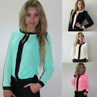 New Women Casual V-Neck Chiffon Long Sleeve Business Tee Shirt Loose Blouse Tops