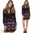 Ladies Fever Hippy Costume 60s 70s Beauty Hippie Fancy Dress Flower Outfit 4-14