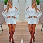 1PC Women Sexy Lace Floral Long Sleeve Casual Party Cocktail Mini Dress Cheap