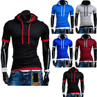 New Fashion Men's Slim Fit Hooded Shirt Hoodies Short Sleeve T-shirt Tee Tops