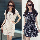 Summer Women Dress Floral Print Casual Dress Short Sleeve Chiffon Mini Dress Hot