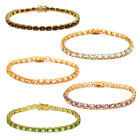 12.00 Ct 18k Gold Plated Sterling Silver Genuine Gemstone Tennis Bracelet, 7.5""