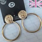 LION DOOR KNOCKER 6cm big HOOP EARRINGS thick HOOPS gold/silver fashion BLING
