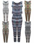 NEW LADIES WOMENS ZIGZAG AZTEC MONOCHROM JUMPSUIT FRONT ZIP LONG PLAYSUIT DRESS