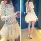 Trendy Women Long Sleeve Lace Cocktail Evening Mini Slim Dress Hollow Suitable