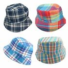 Kids Boys Children Checkered Bucket Sun Hat Age 5 6 7 8 Blue Brown Red Colourful