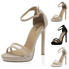 LADIES BUCKLE ANKLE STRAP WOMENS GOING OUT STILETTO HEEL SANDALS SHOES SIZE 3-8
