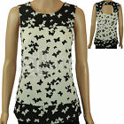 Ladies Red Herring @ Debenhams Black & Ivory Butterfly Print Party  Summer Top