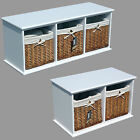 Double Triple Basket White Wooden Bench Lined Wicker Storage Seat Shoes
