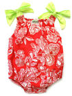 Sophie Catalou Baby Girls Ribbon Romper Red & Ecru Spring Summer NEW $30 NWT