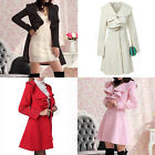 Women Ruffle Falbala Warm Cotton Blend Long Coat Jacket Outwear Overcoat Parkas