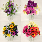 *SUMMER FLOWER BUNDLE* Job Lot Of 5 x Bunches Of Artificial Flowers/Ivy/Fiscus