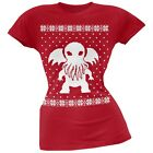 Big Cthulhu Ugly Lovecraft Christmas Sweater Red Soft Juniors T-Shirt