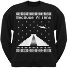 Because Ancient Aliens Pyramid Ugly Christmas Sweater Black Adult Sweatshirt