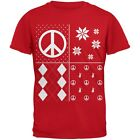Peace Sign Festive Blocks Ugly Christmas Sweater Red Youth T-Shirt