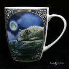 """Lisa Parker Bone China Mug Cup: """"Quiet Reflection"""" Wolf with Moon"""