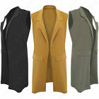 NEW LADIES LONG DUSTER JACKET WOMEN POCKET SLEEVELESS WAISTCOAT SMART BLAZER TOP