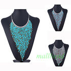 Fashion Beaded Charm Fringe Tassel Triangle Chunky Choker Bib Necklace Jewelry