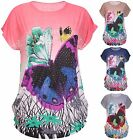 Womens Plus Size Butterfly Print Ladies Cap Sleeve Sequin Studs Long T-Shirt Top