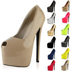 WOMENS PEEP TOE LADIES PLATFORM 7 INCH HIGH STILETTO HEEL COURT SHOES SIZE 3-8